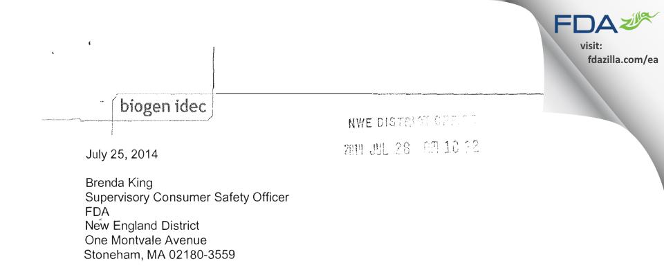 Biogen FDA inspection 483 Jul 2014