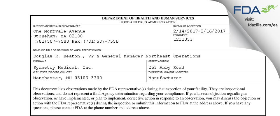 Symmetry Medical FDA inspection 483 Feb 2017