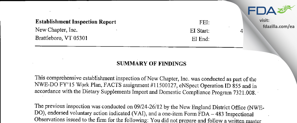 New Chapter FDA inspection 483 May 2015
