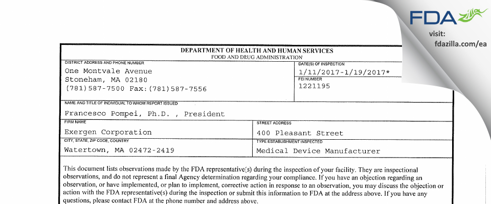 Exergen FDA inspection 483 Jan 2017