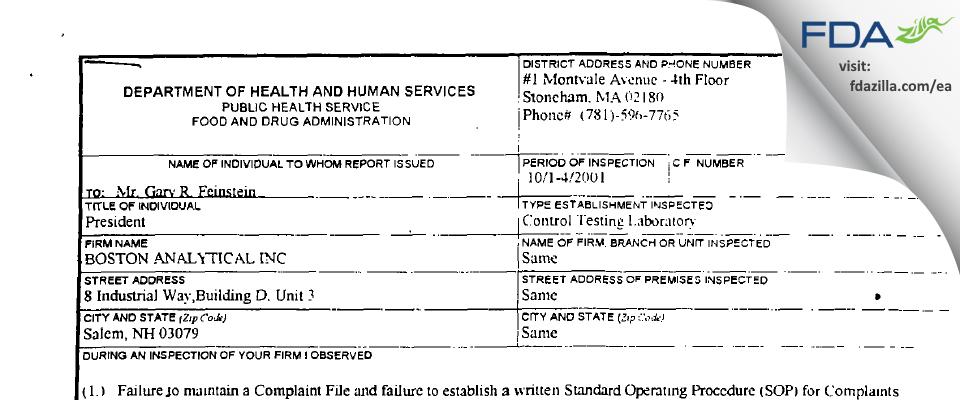 Boston Analytical FDA inspection 483 Oct 2001