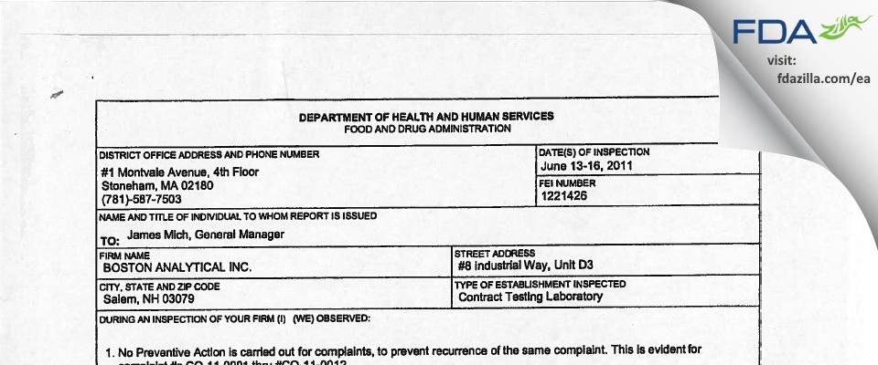 Boston Analytical FDA inspection 483 Jun 2011