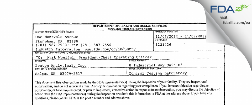Boston Analytical FDA inspection 483 Nov 2012