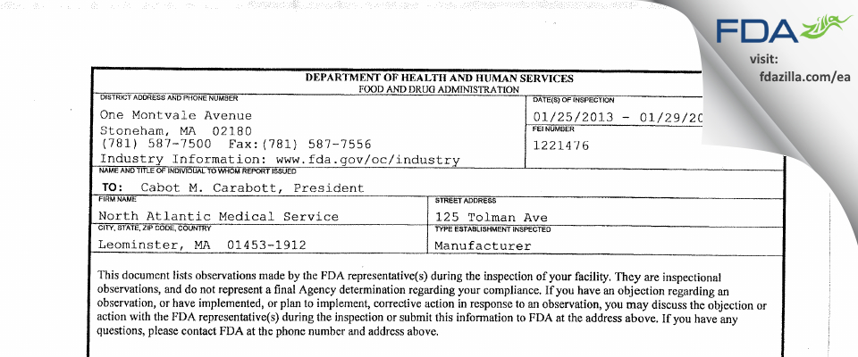 North Atlantic Medical Service FDA inspection 483 Jan 2013