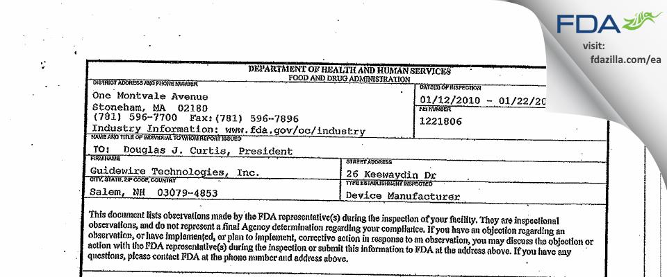 Guidewire Technologies FDA inspection 483 Jan 2010