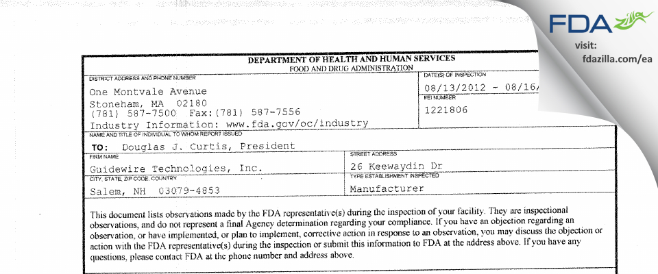 Guidewire Technologies FDA inspection 483 Aug 2012