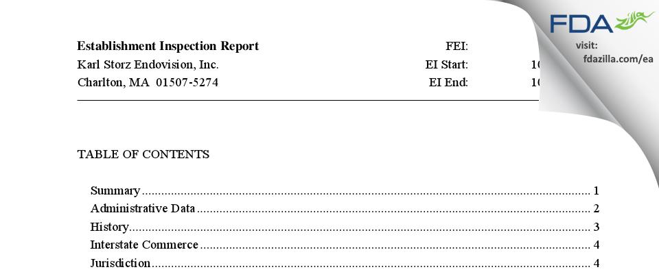 Karl Storz Endovision FDA inspection 483 Oct 2014