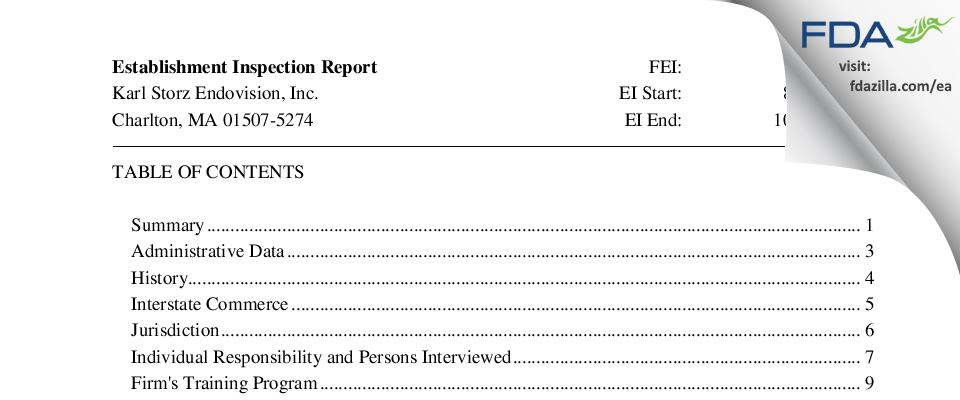 Karl Storz Endovision FDA inspection 483 Oct 2015