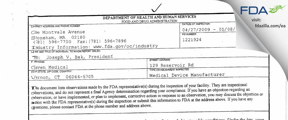 Gaven Medical FDA inspection 483 May 2009
