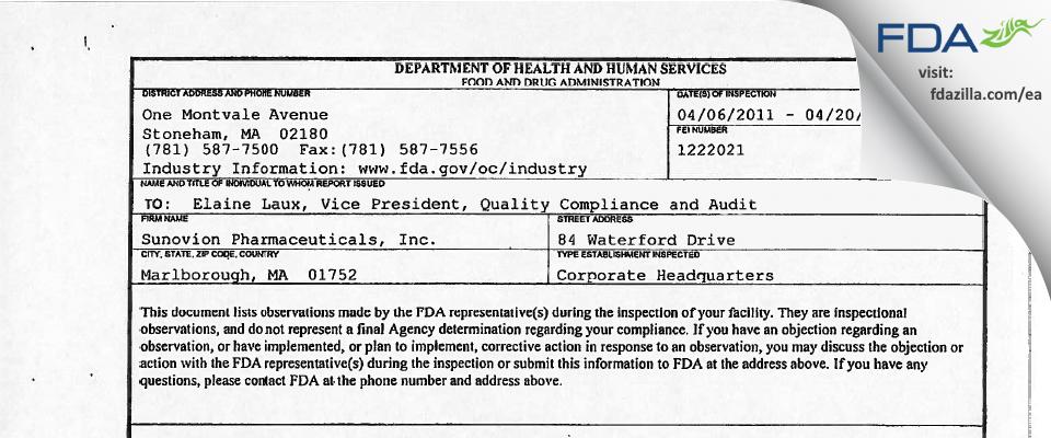 Sunovion Pharmaceuticals FDA inspection 483 Apr 2011