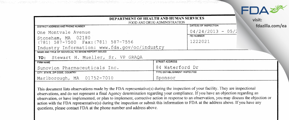 Sunovion Pharmaceuticals FDA inspection 483 May 2013