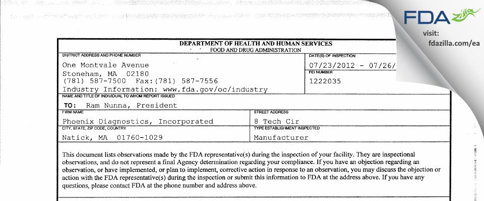 Phoenix Diagnostics FDA inspection 483 Jul 2012