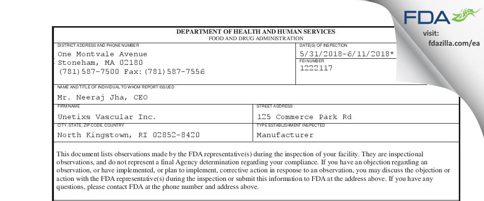 Unetixs Vascular FDA inspection 483 Jun 2018