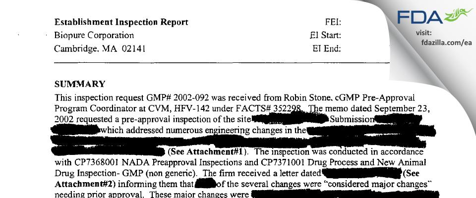 OPK Biotech FDA inspection 483 Nov 2002