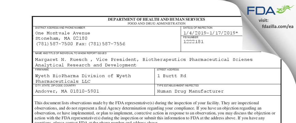 Wyeth BioPharma Division of Wyeth Pharmaceuticals FDA inspection 483 Jan 2019