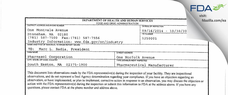 Pharmasol FDA inspection 483 Oct 2014