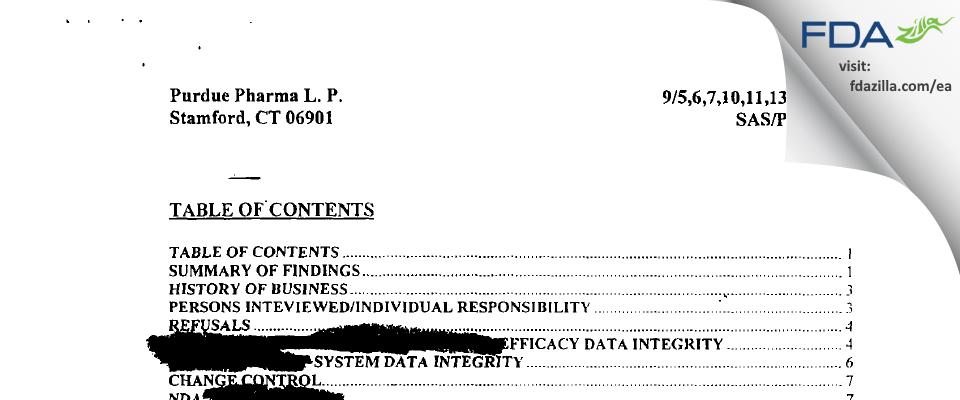Purdue Pharma L.P. FDA inspection 483 Sep 2001