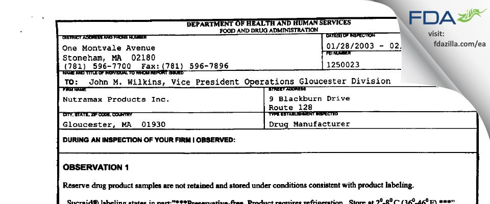 First Boston Pharma FDA inspection 483 Feb 2003