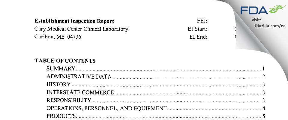 Cary Medical Center Clinical Laboratory FDA inspection 483 Jul 2003