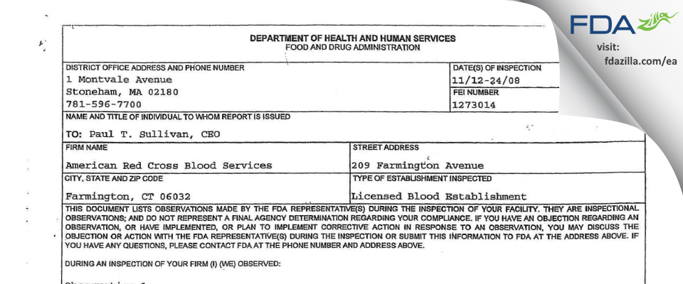 American Red Cross Blood Services FDA inspection 483 Nov 2008