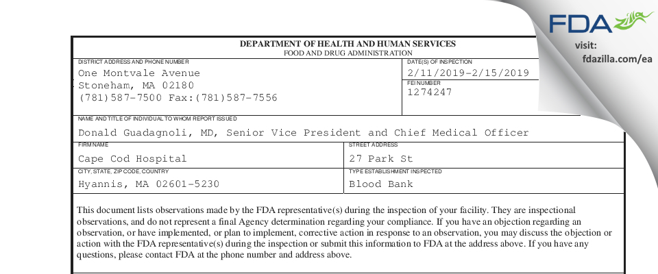Cape Cod Hospital FDA inspection 483 Feb 2019