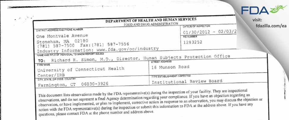 University of Connecticut Health Center/IRB FDA inspection 483 Feb 2012