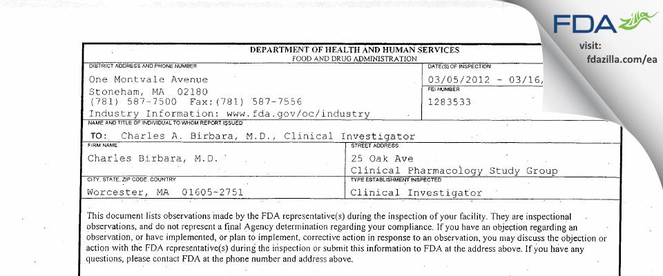 Charles Birbara, M.D. FDA inspection 483 Mar 2012