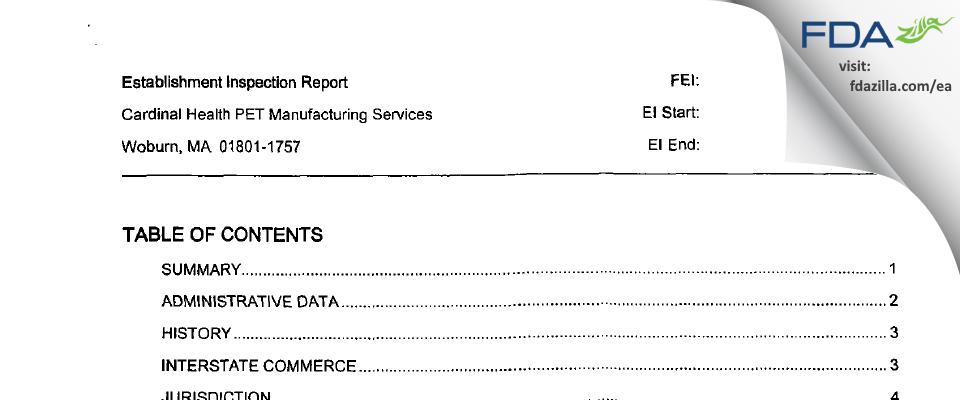 Cardinal Health 414 FDA inspection 483 Apr 2004
