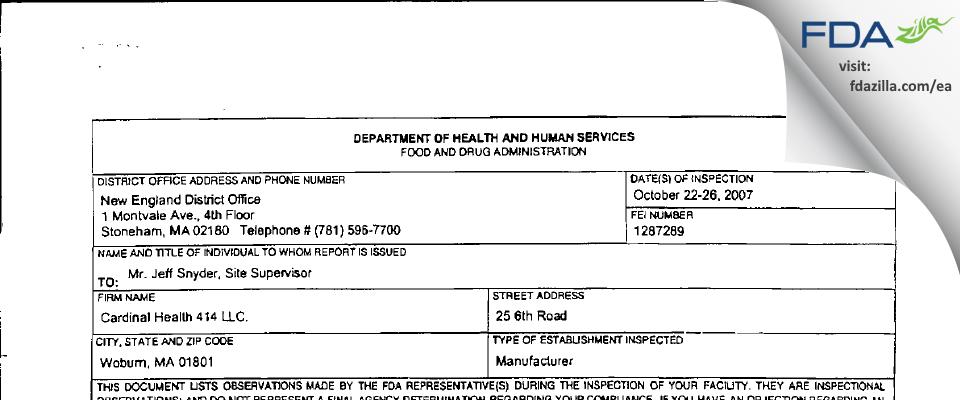 Cardinal Health 414 FDA inspection 483 Oct 2007