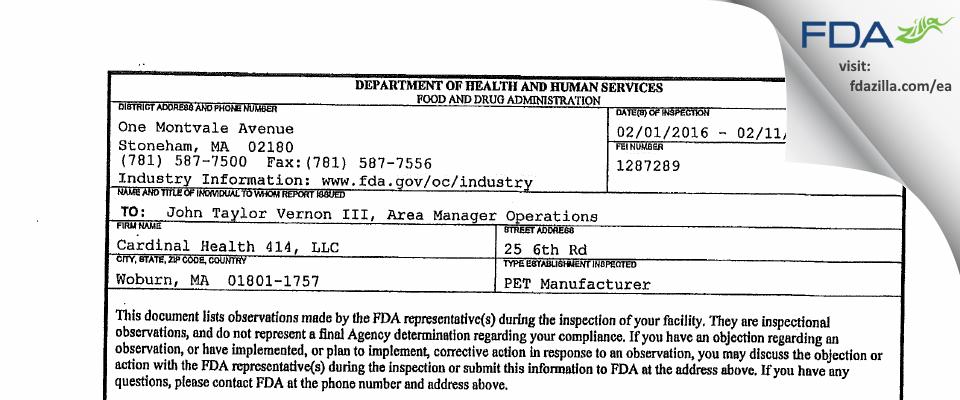 Cardinal Health 414 FDA inspection 483 Feb 2016