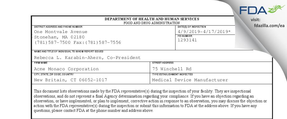 Acme Monaco FDA inspection 483 Apr 2019