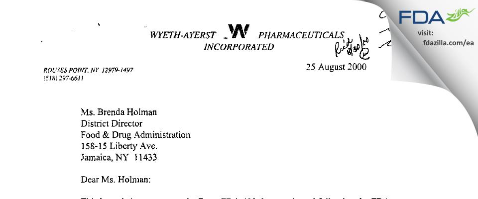 Wyeth Pharmaceuticals, a subsidiary of Pfizer FDA inspection 483 Jul 2000