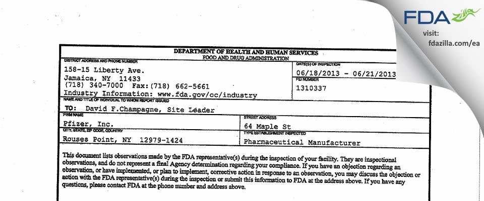Wyeth Pharmaceuticals, a subsidiary of Pfizer FDA inspection 483 Jun 2013