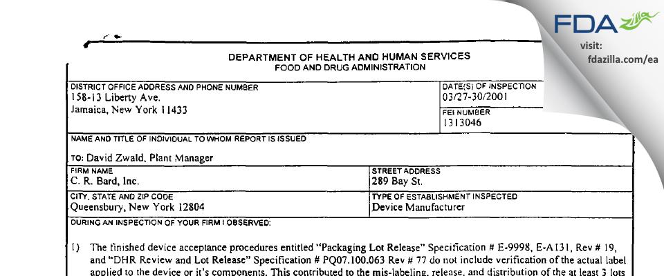 C.R. Bard FDA inspection 483 Mar 2001