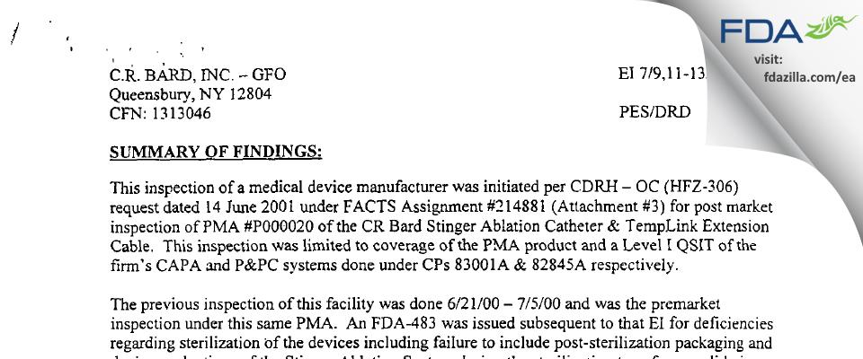 C.R. Bard FDA inspection 483 Jul 2001