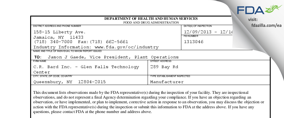 C.R. Bard FDA inspection 483 Dec 2013