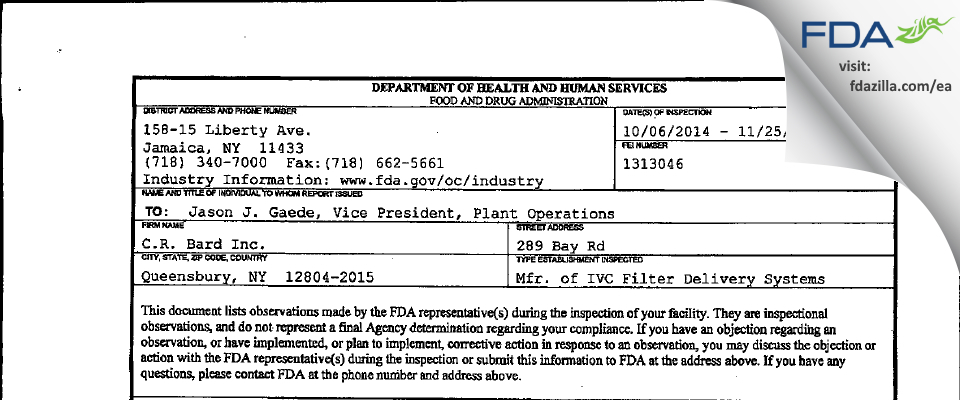 C.R. Bard FDA inspection 483 Nov 2014