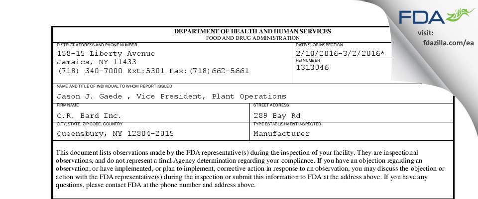C.R. Bard FDA inspection 483 Mar 2016