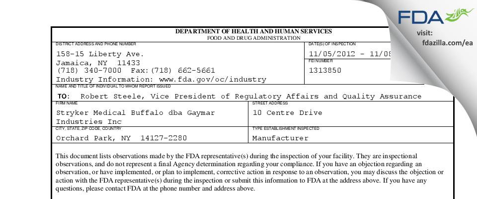 Stryker Medical Buffalo dba Gaymar Industries FDA inspection 483 Nov 2012