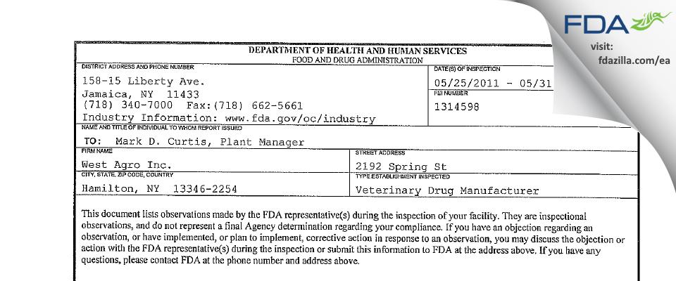 World Gen FDA inspection 483 May 2011