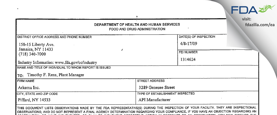 Arkema FDA inspection 483 Apr 2009