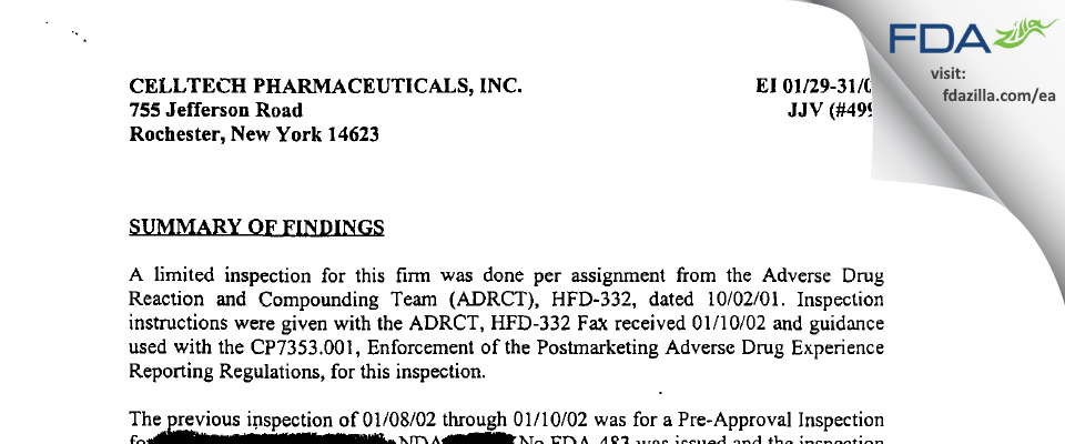 Unither Manufacturing. FDA inspection 483 Jan 2002