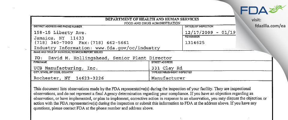 Unither Manufacturing. FDA inspection 483 Jan 2010