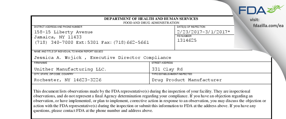 Unither Manufacturing. FDA inspection 483 Mar 2017
