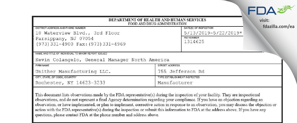 Unither Manufacturing. FDA inspection 483 May 2019