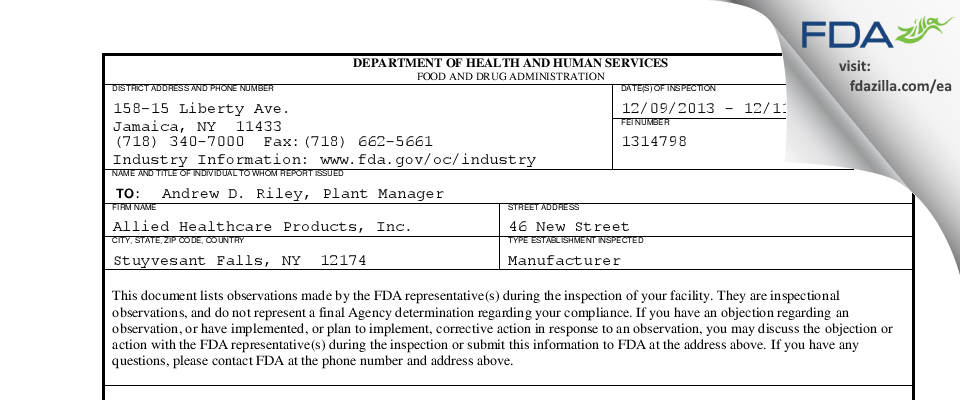 Allied Healthcare Products FDA inspection 483 Dec 2013