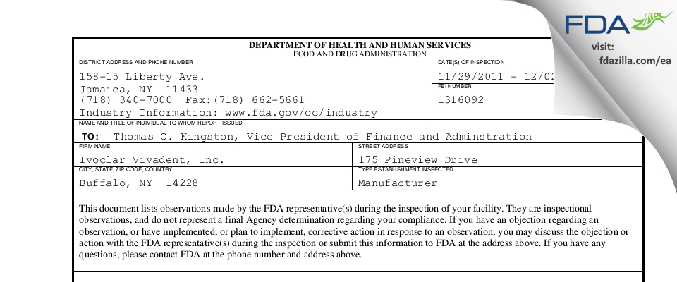 Ivoclar Vivadent FDA inspection 483 Dec 2011