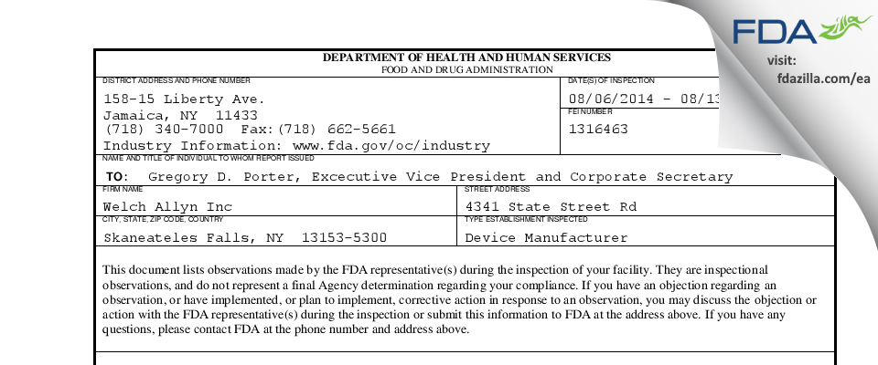 Welch Allyn FDA inspection 483 Aug 2014
