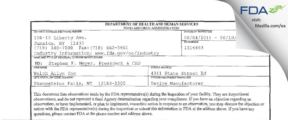 Welch Allyn FDA inspection 483 Jun 2015