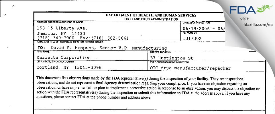 Marietta FDA inspection 483 Jun 2006